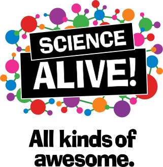 "Science Alive! logo with tag line ""All kinds of awesome"""