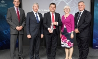 L-R Chief of the Defence Force General Angus Campbell, AO, DSC, Assistant Defence Minister, Senator the Hon David Fawcett, Dr Andrew Piotrowski, recipient of the Minister's Award for Achievement in Defence Science 2018, Acting Secretary of Defence, Rebecca Skinner and Chief Defence Scientist, Dr Alex Zelinsky